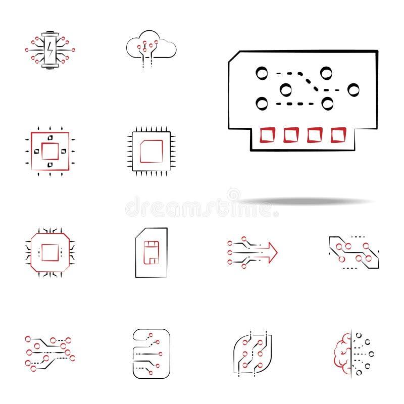 icona del modulo Insieme universale delle icone di elettronica per il web ed il cellulare illustrazione di stock