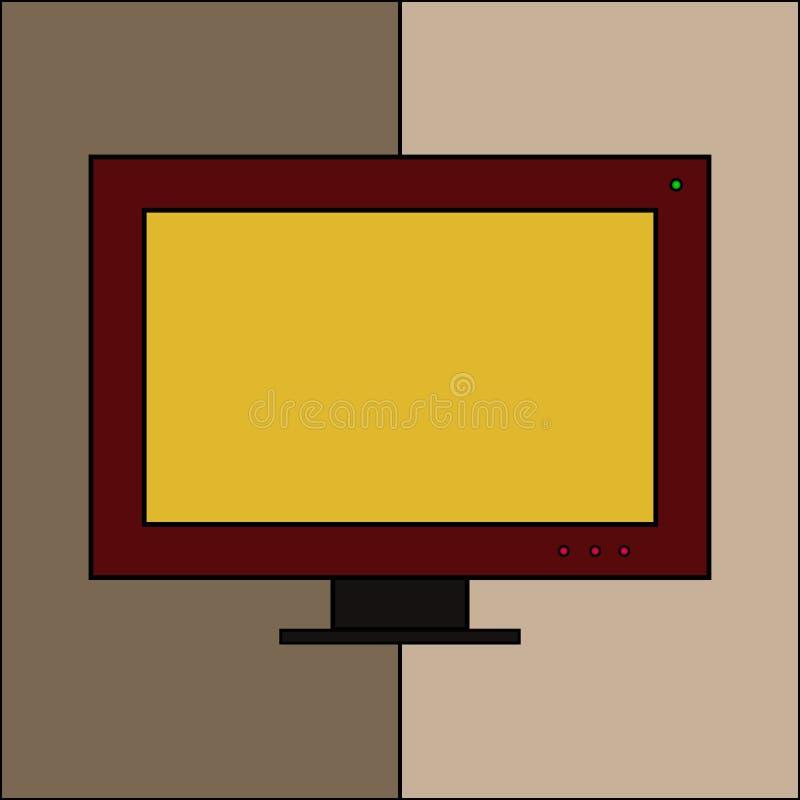 Icona del monitor del computer Simbolo da tavolino dell'esposizione del PC Stile piano moderno con un lungo royalty illustrazione gratis