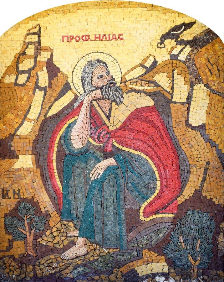 Icona del mosaico con l'uomo santo fotografie stock libere da diritti