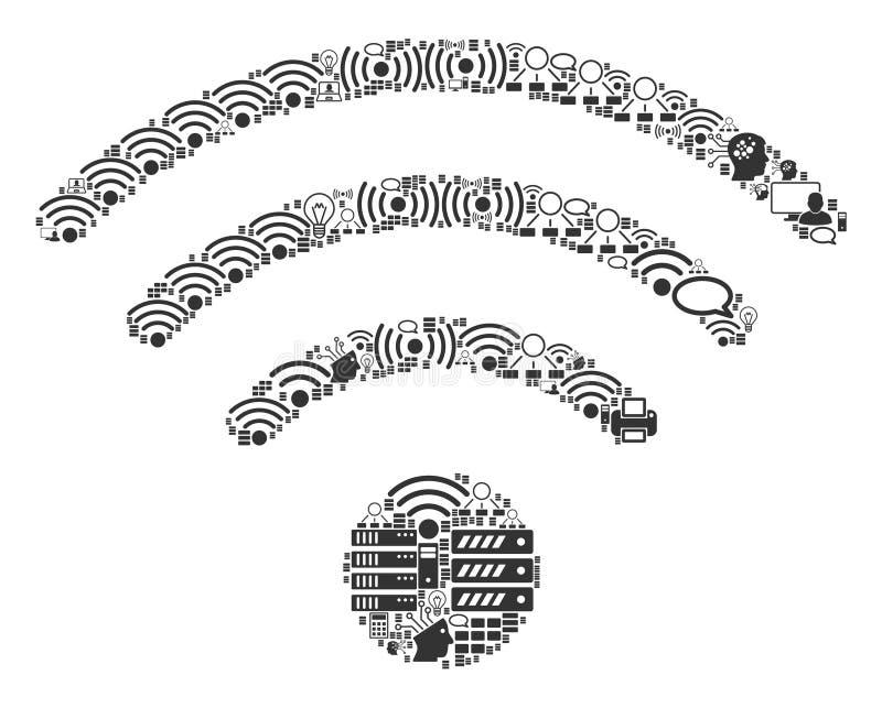 Icona del mosaico di fonte di Wi-Fi per BigData e computare royalty illustrazione gratis