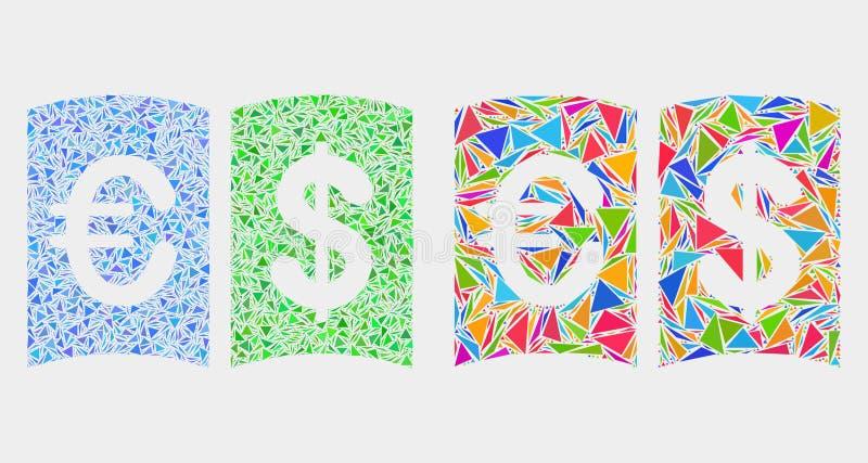 Icona del mosaico del manuale di valuta di vettore dei triangoli illustrazione di stock