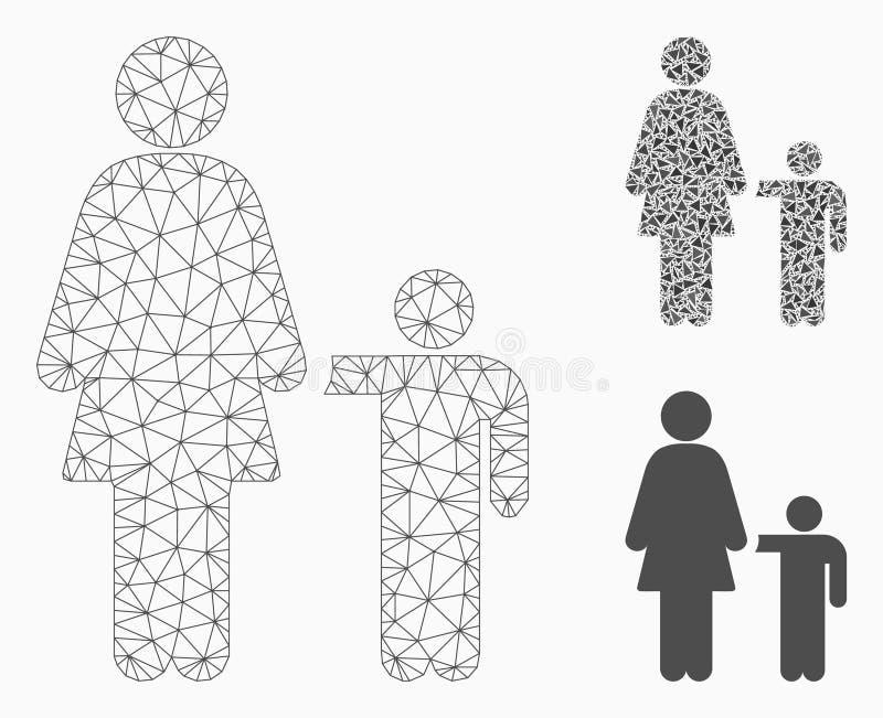 Icona del mosaico del modello e del triangolo della maglia di vettore del bambino della madre 2D royalty illustrazione gratis