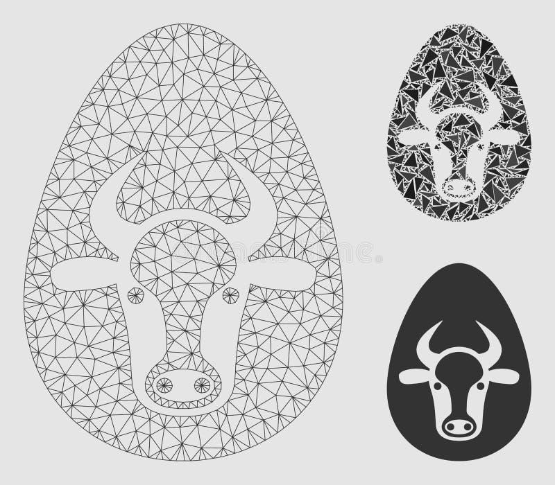 Icona del mosaico del modello e del triangolo della maglia di vettore dell'uovo della mucca 2D royalty illustrazione gratis