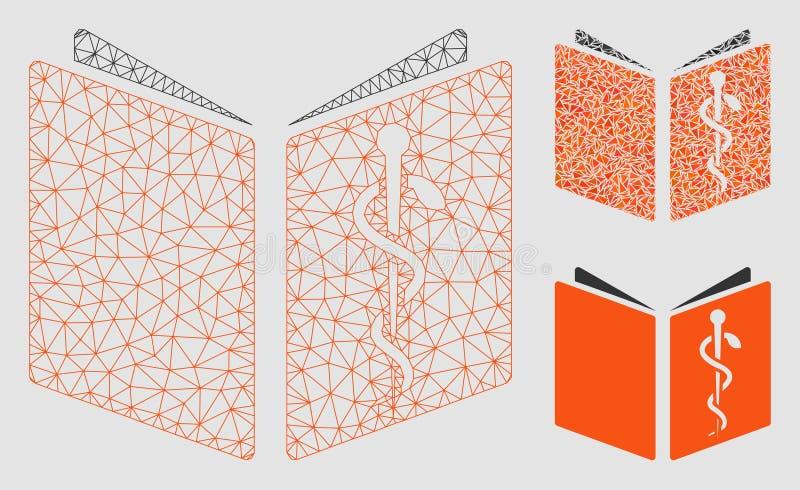 Icona del mosaico del modello e del triangolo della maglia di vettore del manuale della droga 2D royalty illustrazione gratis