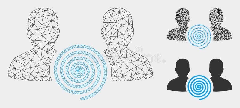 Icona del mosaico del modello e del triangolo della maglia di vettore della setta di ipnosi 2D illustrazione vettoriale