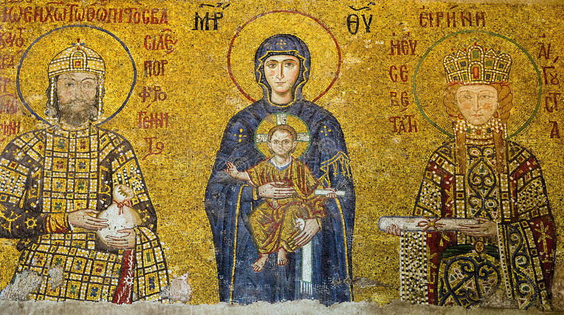 Icona del mosaico nella moschea Hagia Sofia della cattedrale fotografia stock libera da diritti