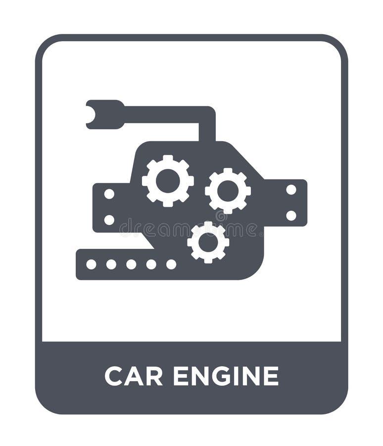 icona del motore di automobile nello stile d'avanguardia di progettazione icona del motore di automobile isolata su fondo bianco  illustrazione di stock