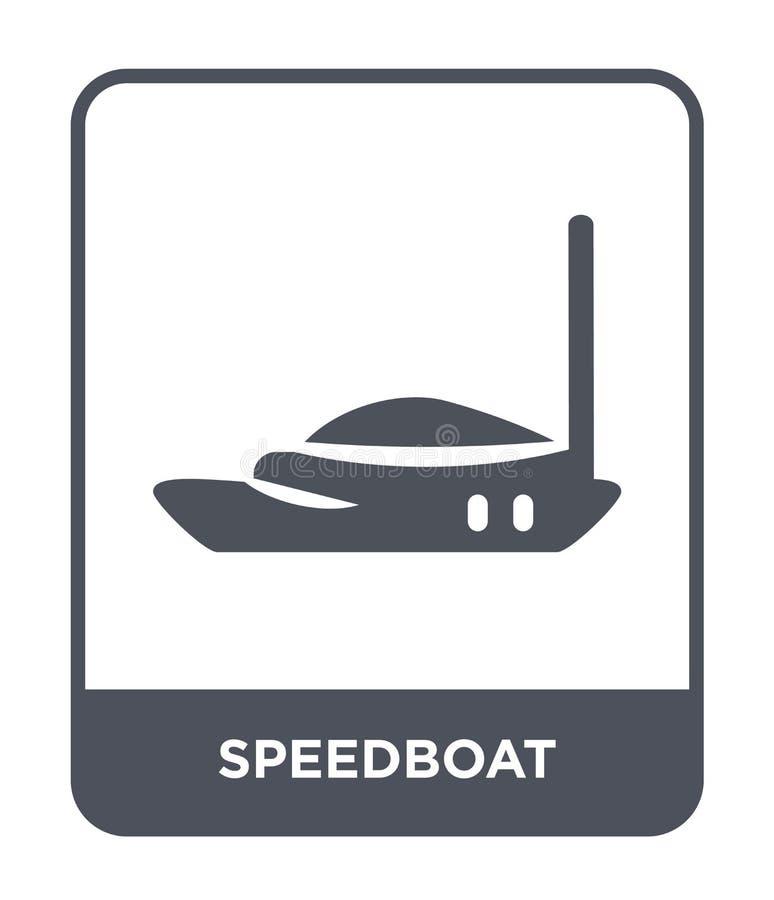 icona del motoscafo nello stile d'avanguardia di progettazione icona del motoscafo isolata su fondo bianco piano semplice e moder illustrazione vettoriale