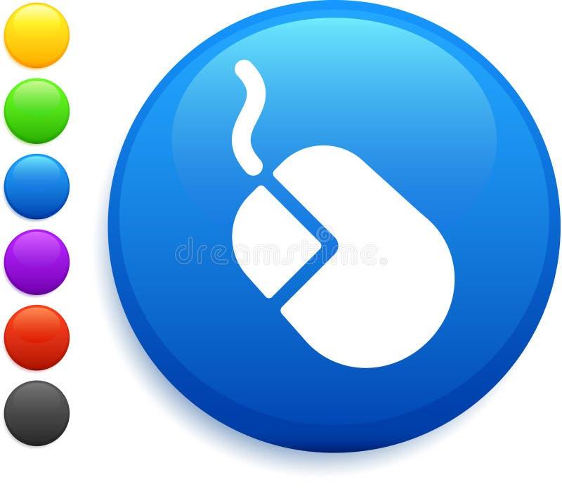 Icona del mouse del calcolatore sul tasto rotondo del Internet illustrazione di stock