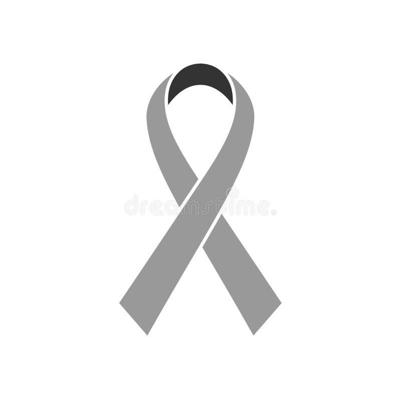 Icona del nastro di consapevolezza del cancro al seno Simbolo della sanità delle donne Illustrazione grigia piana semplice di vet illustrazione di stock