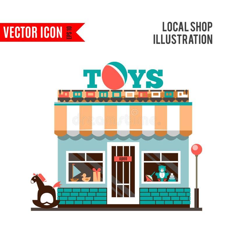 Icona del negozio del giocattolo isolata su fondo bianco illustrazione vettoriale