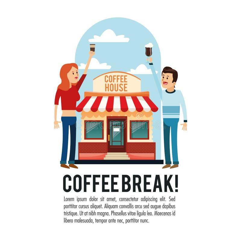 Icona del negozio della pausa caffè della gente Grafico di vettore illustrazione di stock