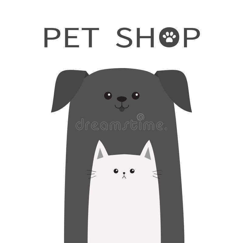 Icona del negozio di animali Animale del gatto e del cane Animali domestici felici messi Paw Print Elemento veterinario di proget royalty illustrazione gratis