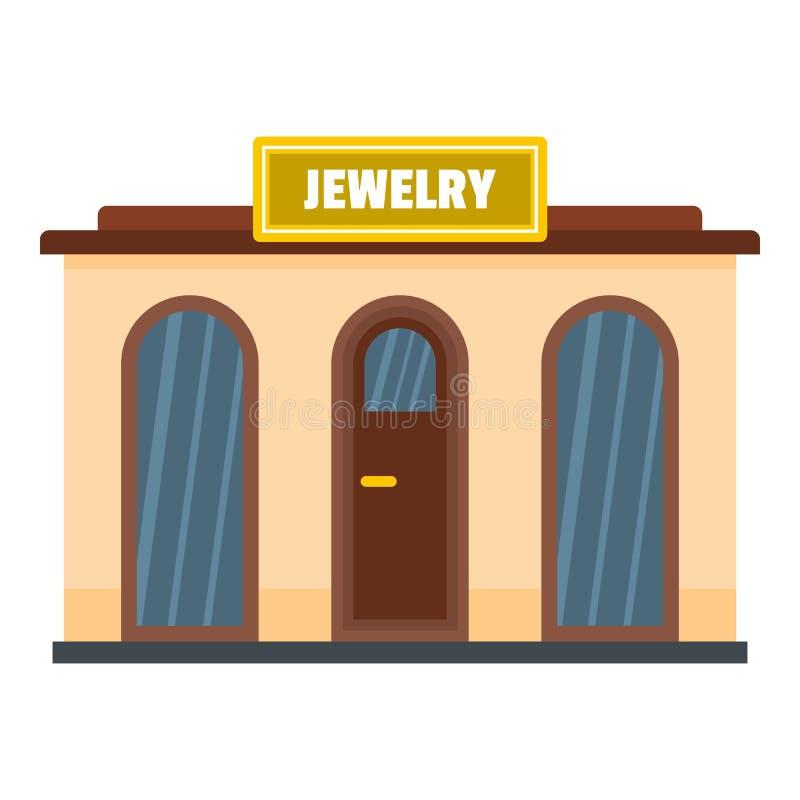 Icona del negozio di gioielli, stile piano illustrazione di stock