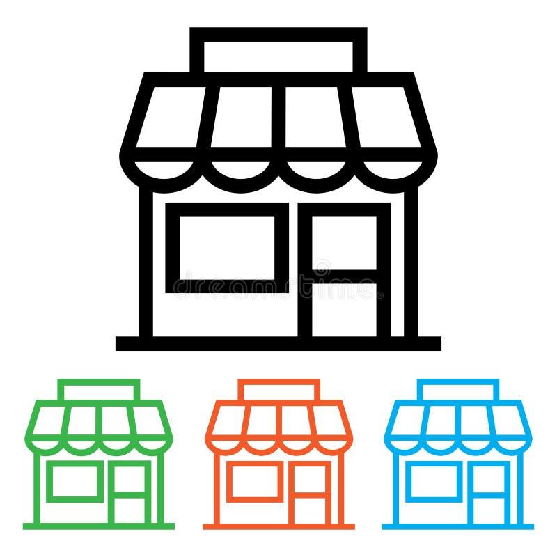 Icona del negozio, parte anteriore del deposito Versioni di colore e del nero Illustrazione di vettore illustrazione vettoriale