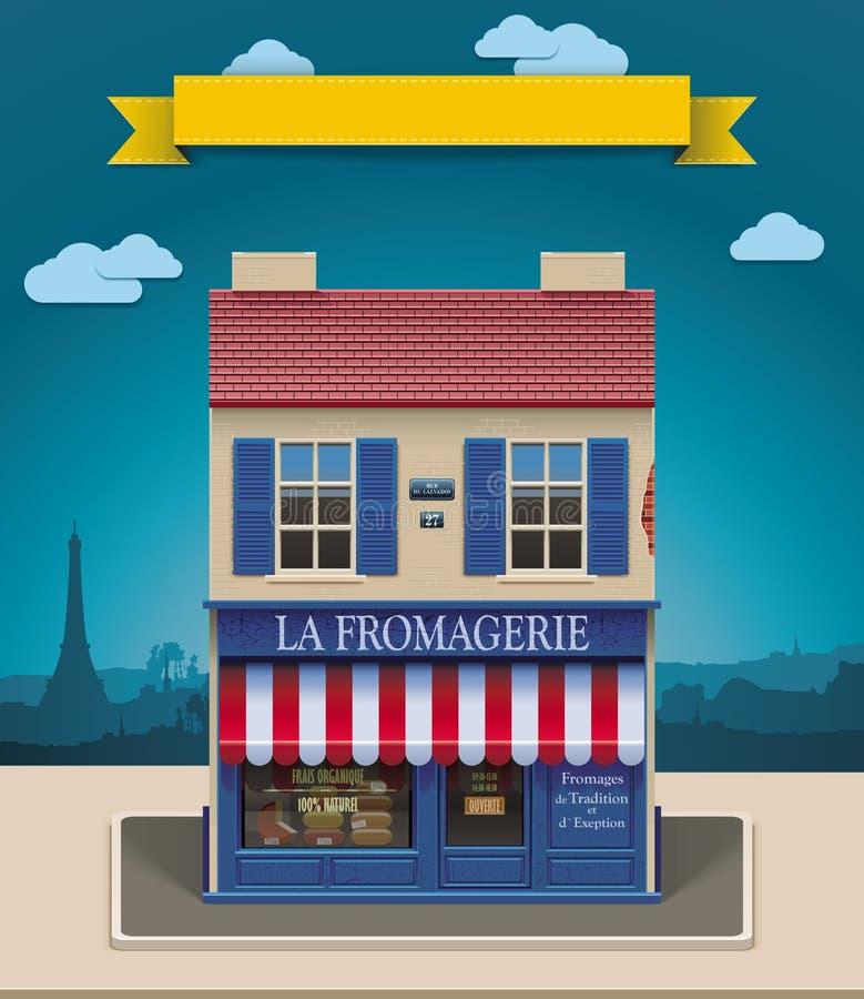 Icona del negozio XXL del formaggio di vettore royalty illustrazione gratis