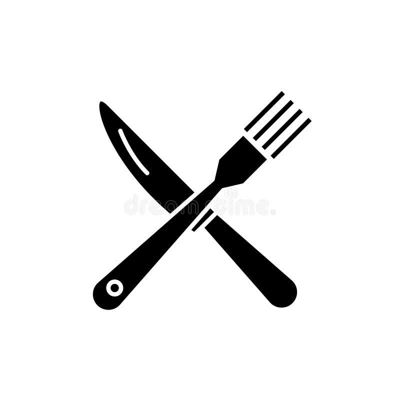 Icona del nero del coltello e della forcella, segno di vettore su fondo isolato Simbolo di concetto del coltello e della forcella illustrazione di stock