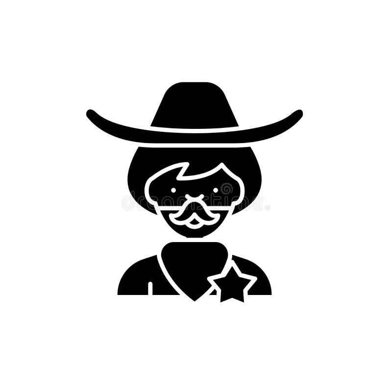 Icona del nero del cowboy, segno di vettore su fondo isolato Simbolo di concetto del cowboy, illustrazione illustrazione vettoriale