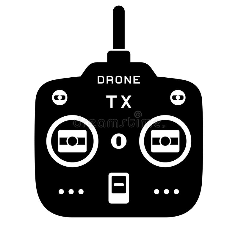 Icona del nero del trasmettitore del tx del quadcopter del fuco di Rc royalty illustrazione gratis