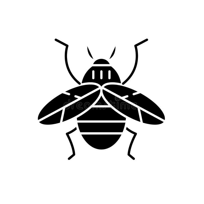 Icona del nero dell'ape, segno di vettore su fondo isolato Simbolo di concetto dell'ape, illustrazione illustrazione di stock