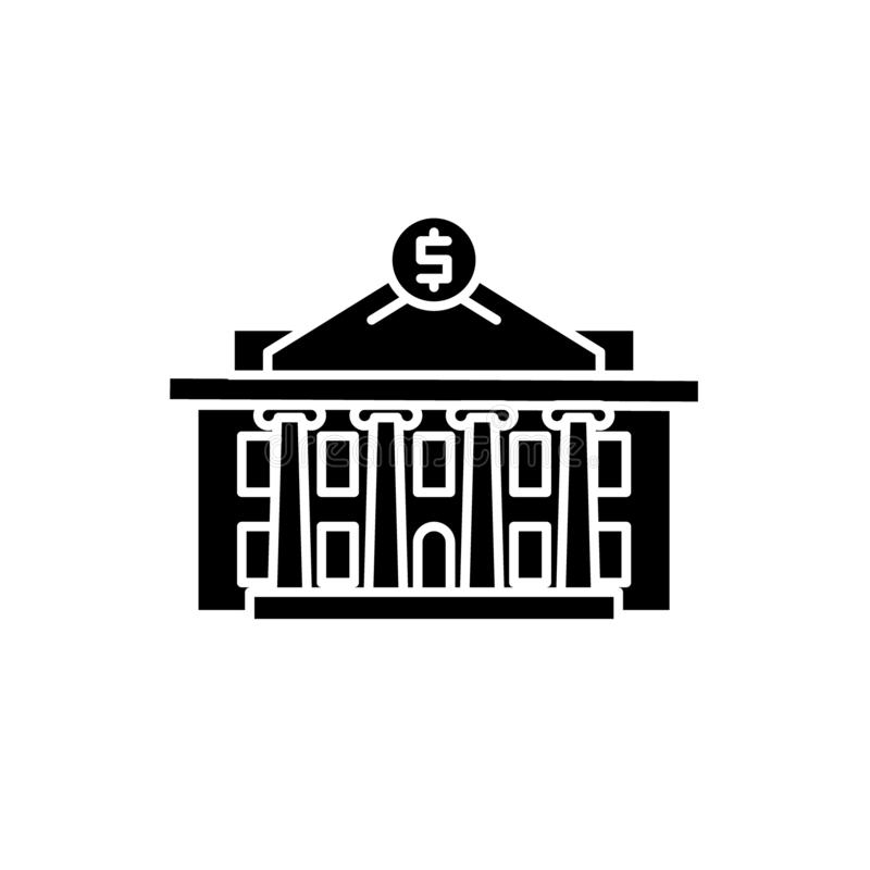 Icona del nero dell'istituzione finanziaria, segno di vettore su fondo isolato Simbolo di concetto dell'istituzione finanziaria,  illustrazione vettoriale