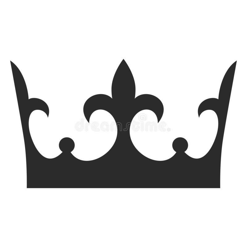 Icona del nero della corona di re, siluetta della decorazione del monarca illustrazione di stock
