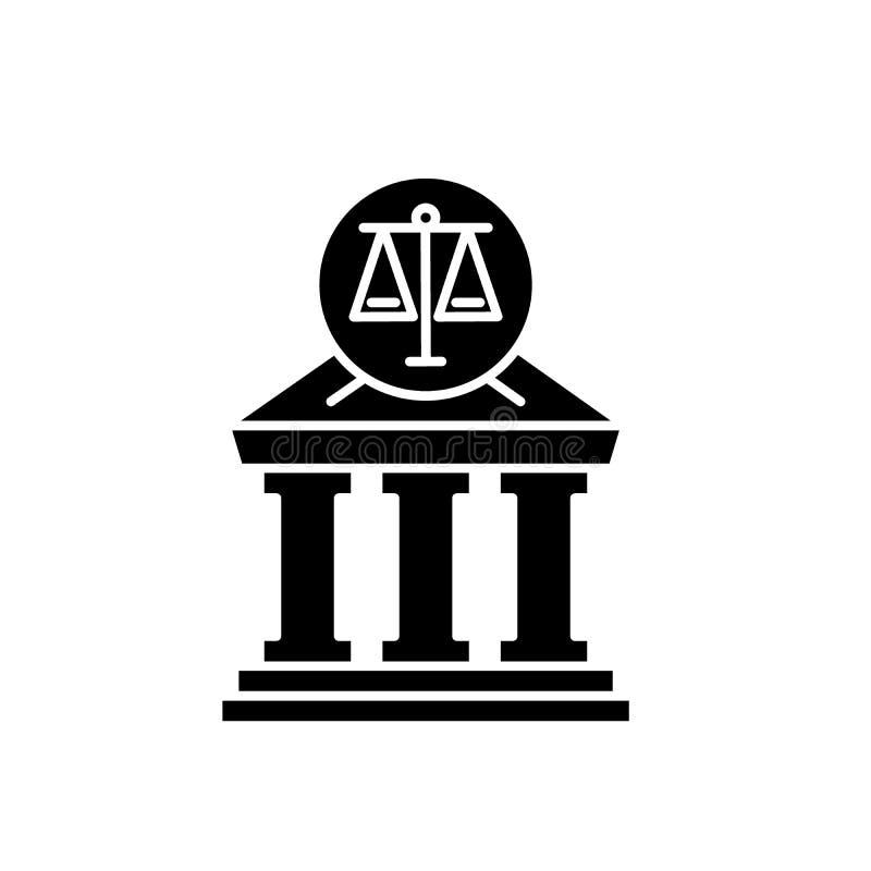 Icona del nero della corte, segno di vettore su fondo isolato Simbolo di concetto della corte, illustrazione illustrazione di stock