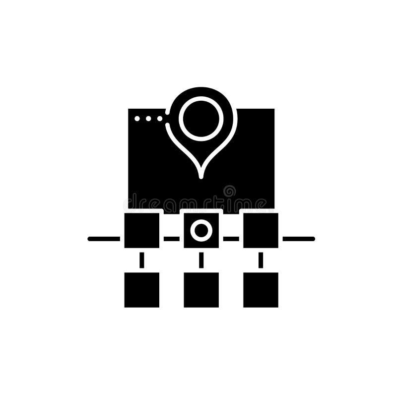 Icona del nero della struttura di web di Sitemap, segno di vettore su fondo isolato Simbolo di concetto della struttura di web di illustrazione di stock