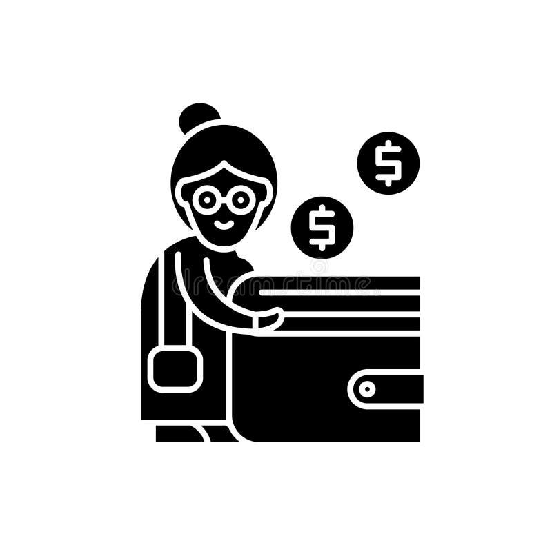 Icona del nero di contributo di pensione, segno di vettore su fondo isolato Simbolo di concetto di contributo di pensione, illust royalty illustrazione gratis