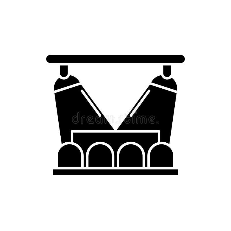 Icona del nero di manifestazione di concerto, segno di vettore su fondo isolato Simbolo di concetto di manifestazione di concerto illustrazione vettoriale