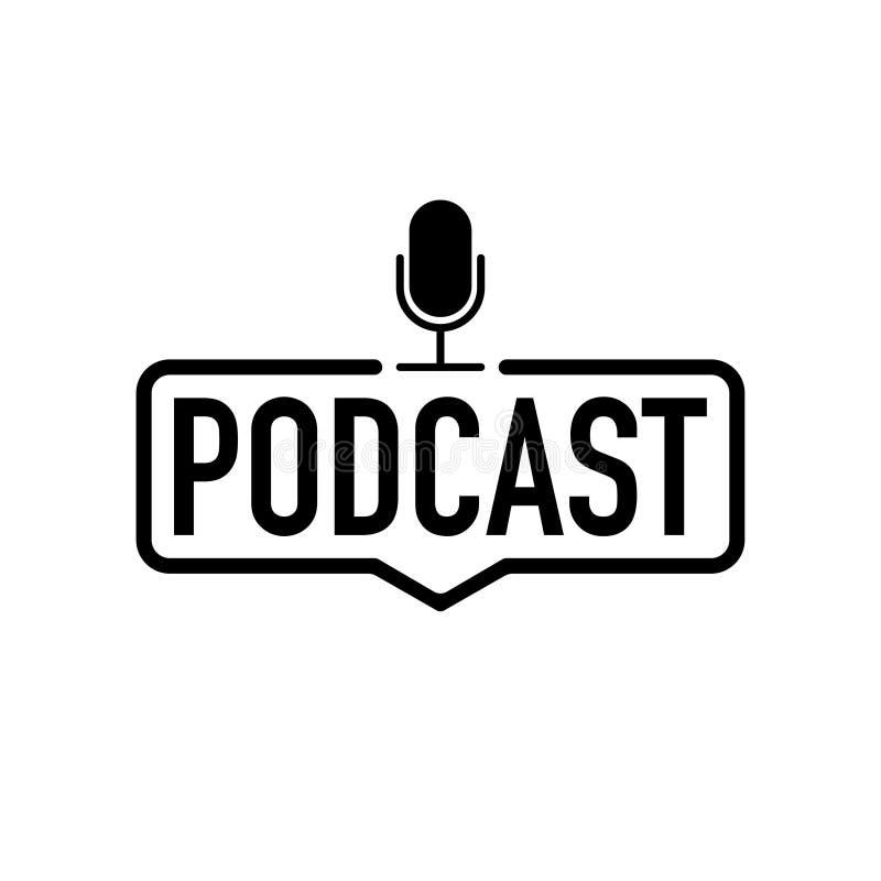 Icona del nero di podcast sul vettore bianco del fondo illustrazione di stock