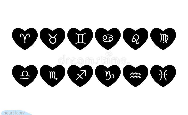 Icona del nero di vettore del cuore del corredo, simbolo di amore Segni dello zodiaco messi nei cuori Segno di giorno di bigliett illustrazione vettoriale