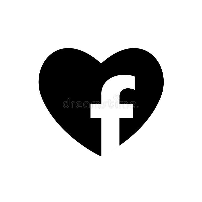 Icona del nero di vettore del cuore dedicata alla rete di Facebook del sociale Simbolo di amore nel cuore Segno di giorno di bigl royalty illustrazione gratis