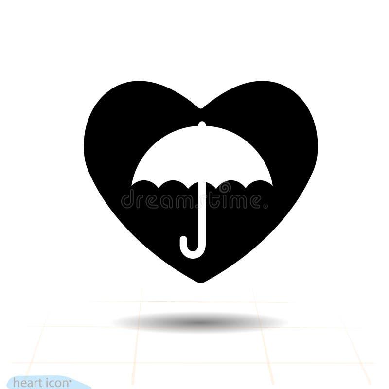Icona del nero di vettore del cuore Ombrello nel cuore Segno di giorno di biglietti di S. Valentino, emblema, grafico nello stile illustrazione di stock