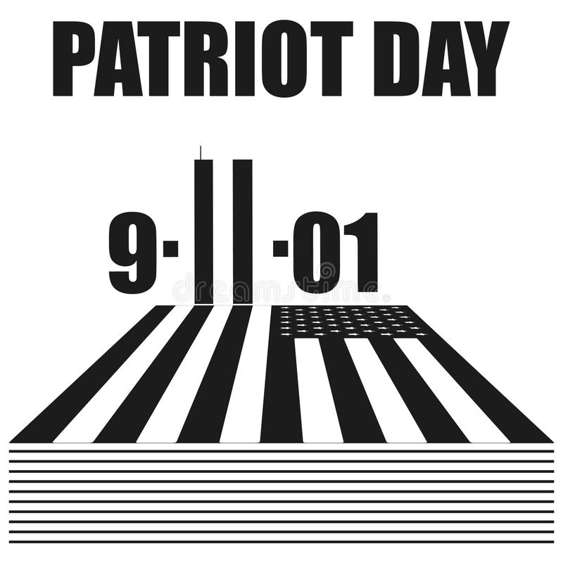 Icona del nero di vettore di giorno del patriota su fondo bianco royalty illustrazione gratis