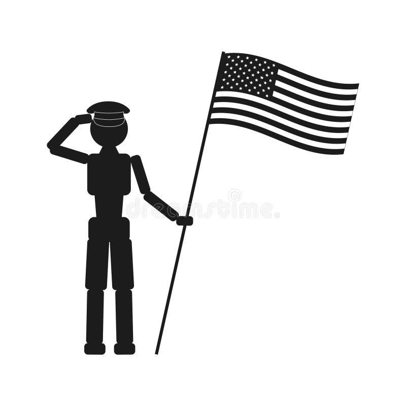 Icona del nero di vettore di giorno del patriota su fondo bianco illustrazione di stock