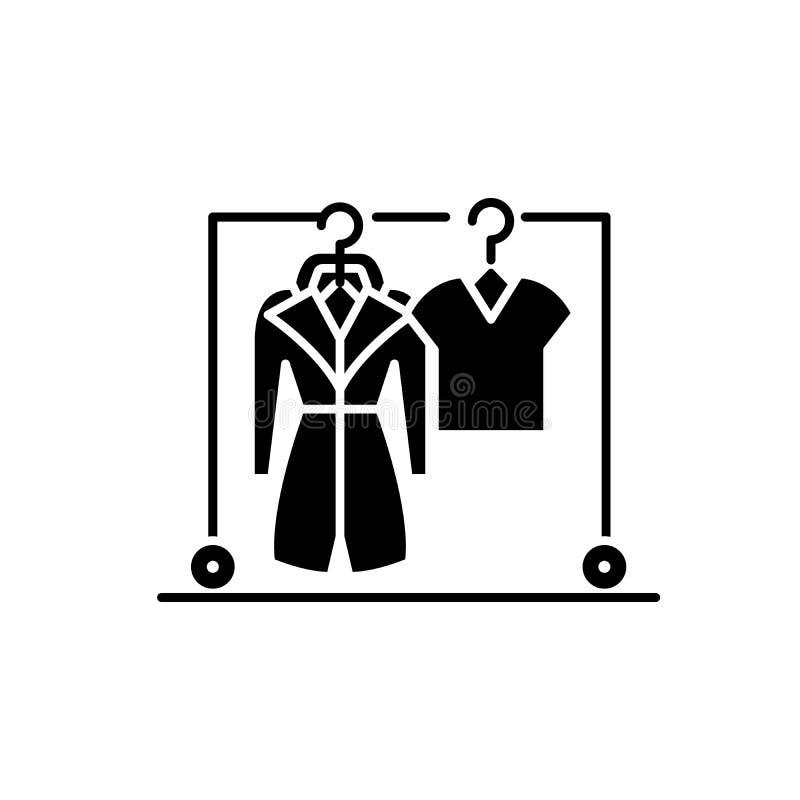 Icona del nero del guardaroba, segno di vettore su fondo isolato Simbolo di concetto del guardaroba, illustrazione royalty illustrazione gratis