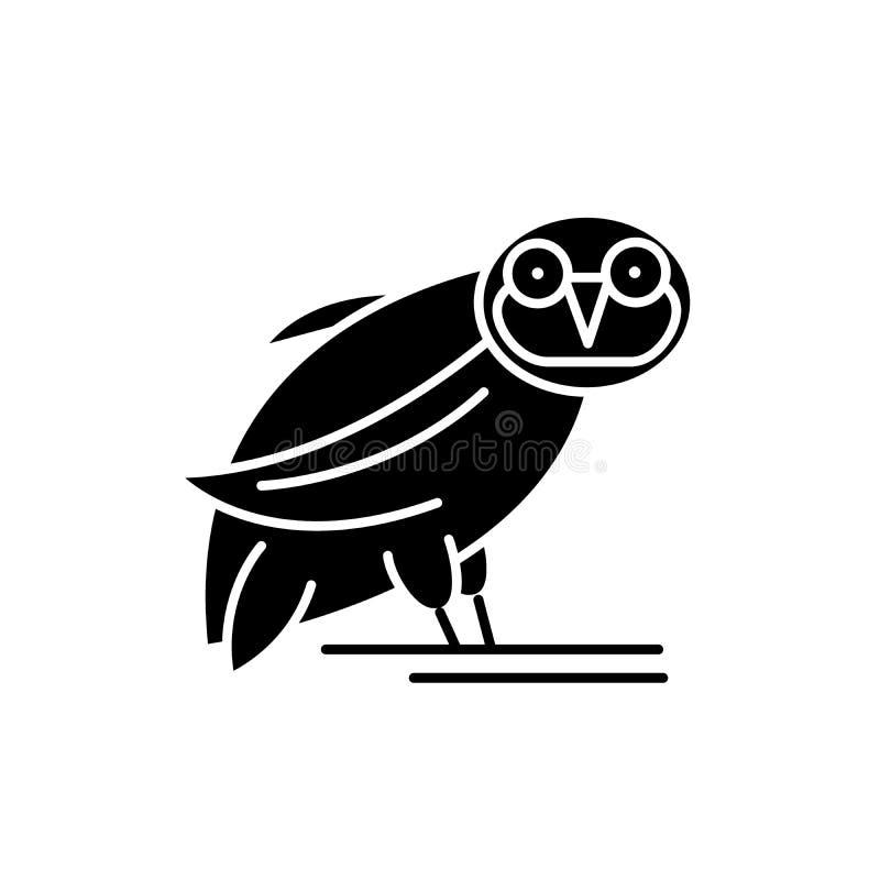 Icona del nero del gufo, segno di vettore su fondo isolato Simbolo di concetto del gufo, illustrazione royalty illustrazione gratis