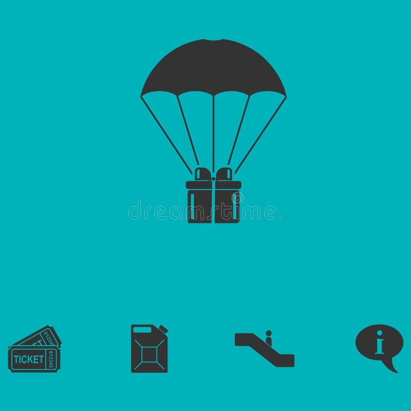 Icona del pacchetto del contenitore di regalo del paracadute pianamente royalty illustrazione gratis