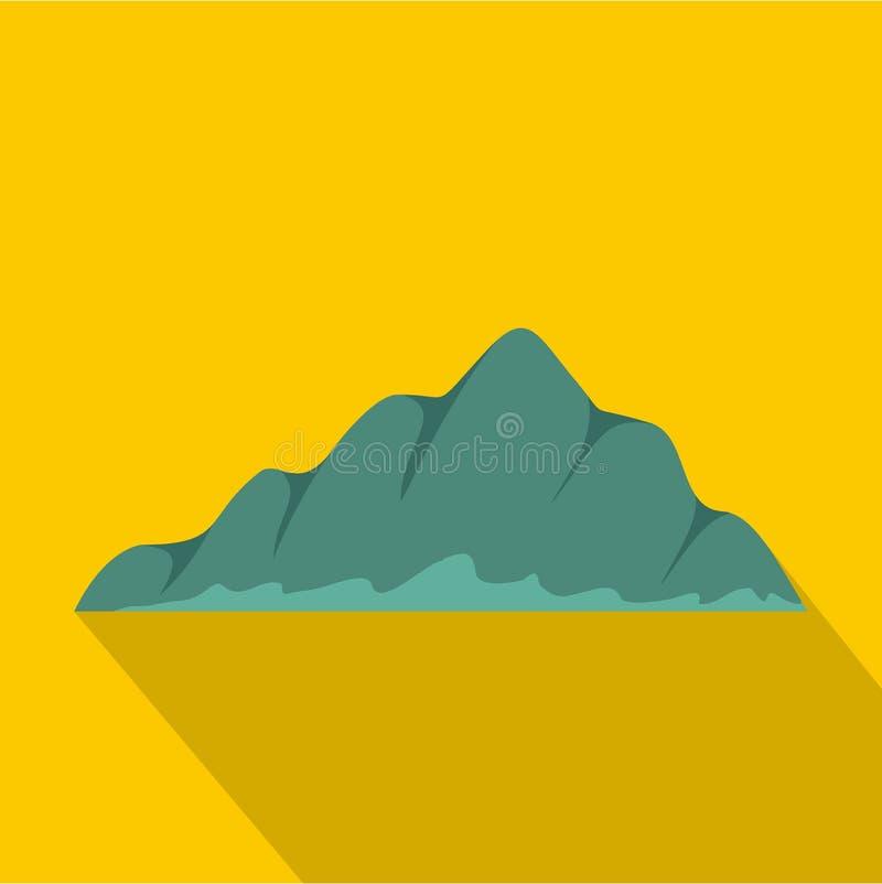 Icona del paesaggio della montagna, stile piano illustrazione di stock