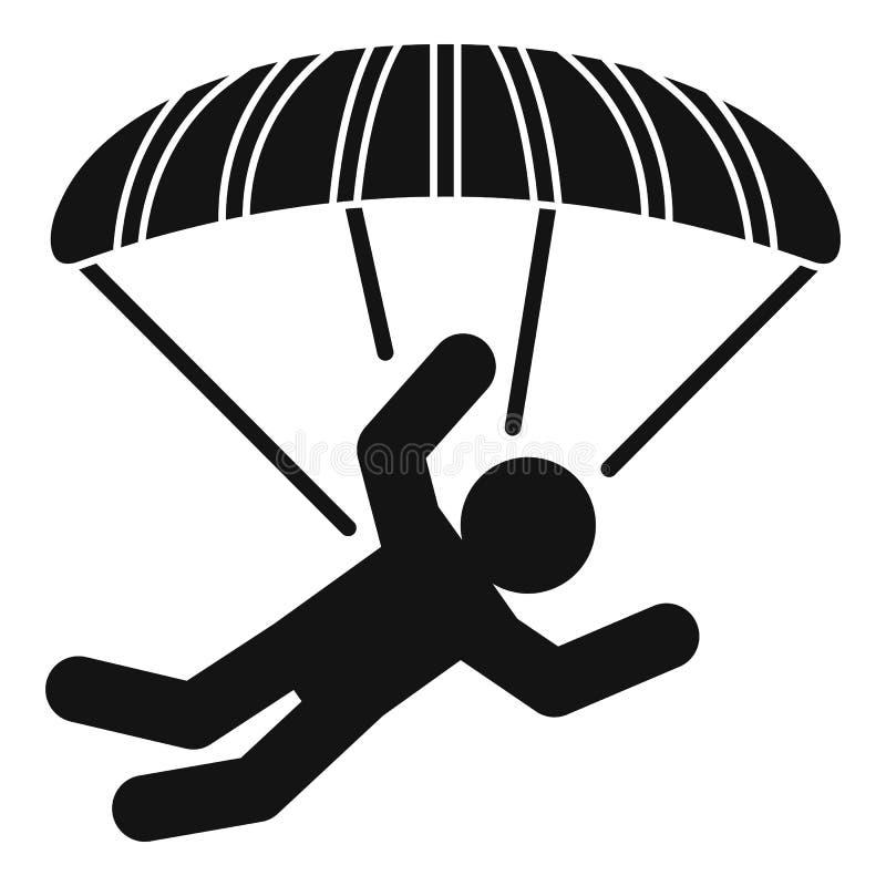 Icona del paracadutista del paracadute, stile semplice illustrazione di stock