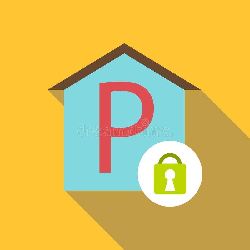 Icona del parcheggio coperto, stile piano illustrazione di stock
