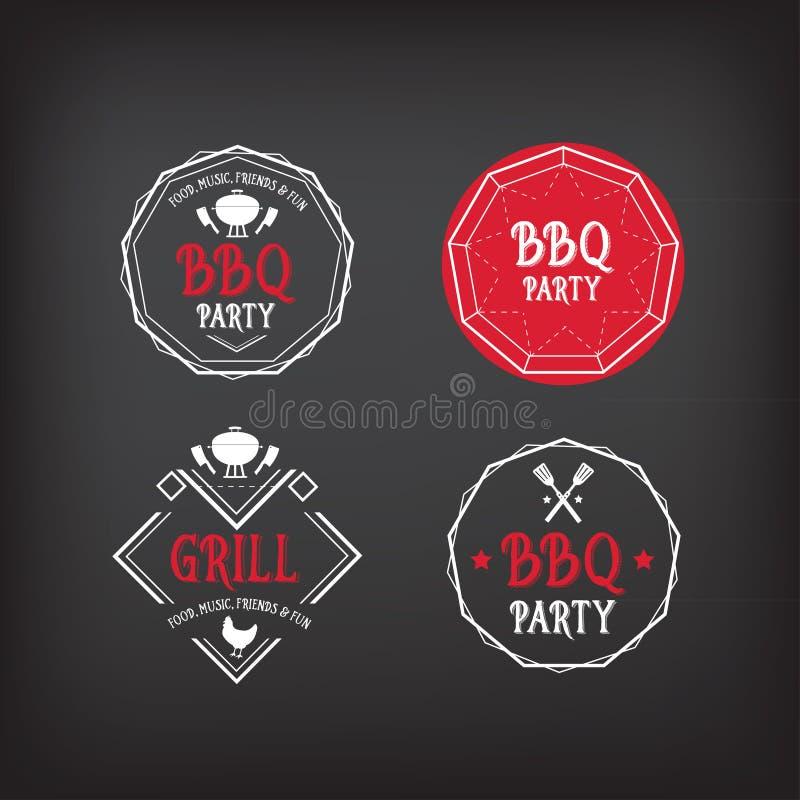 Icona del partito del barbecue Progettazione del menu del BBQ royalty illustrazione gratis