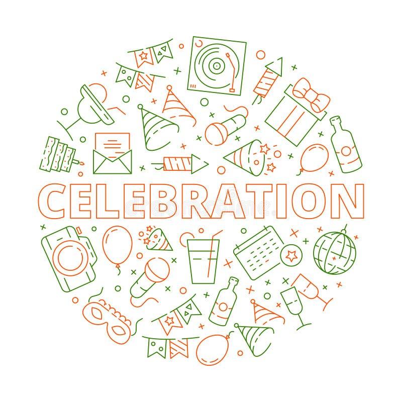 Icona del partito Simboli di celebrazione di compleanno di evento in modello di vettore delle stelle dei dolci dei palloni dei fu illustrazione di stock