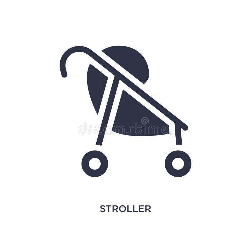 Icona del passeggiatore su fondo bianco Illustrazione semplice dell'elemento dal concetto del bambino e del bambino royalty illustrazione gratis