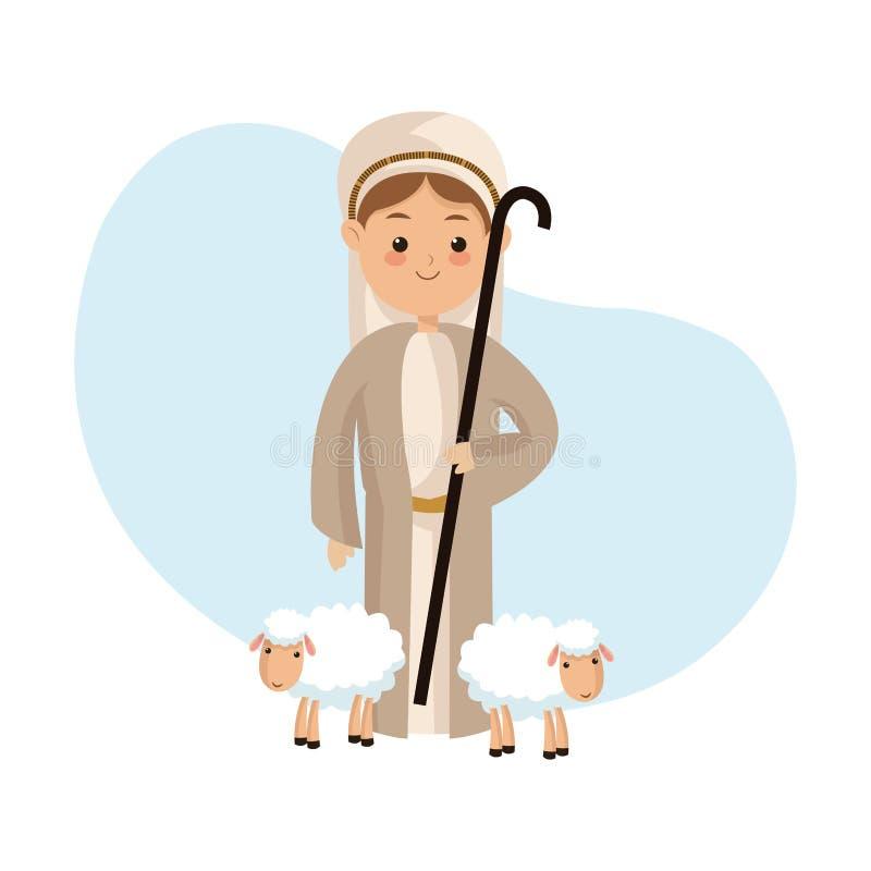 Icona del pastore Progettazione di Buon Natale Grafico di vettore royalty illustrazione gratis