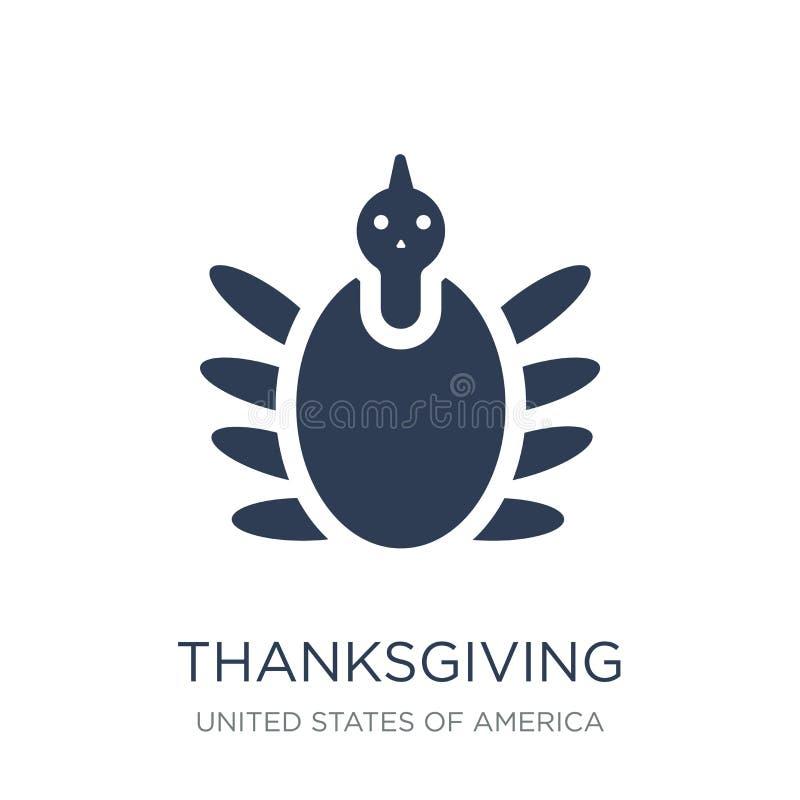 Icona del pavone di ringraziamento Peaco piano d'avanguardia di ringraziamento di vettore illustrazione di stock