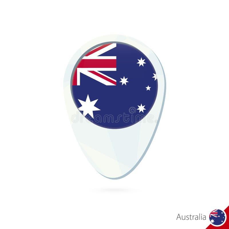 Icona del perno della mappa di posizione della bandiera dell'Australia su fondo bianco royalty illustrazione gratis