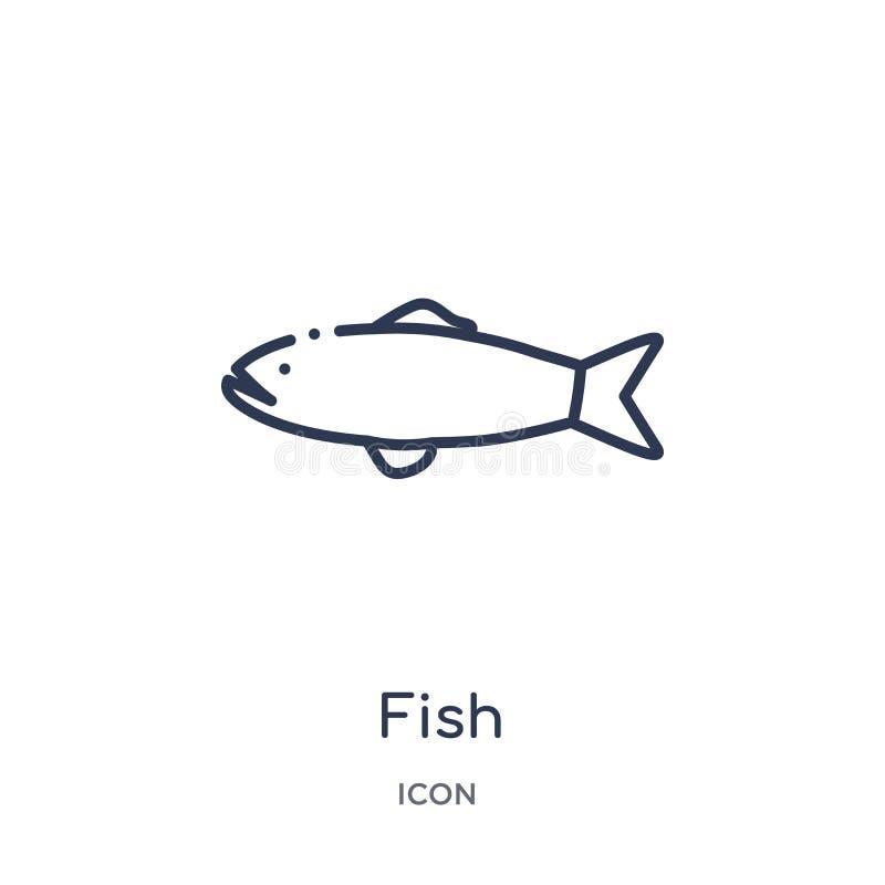 Icona del pesce dalla raccolta nautica del profilo Linea sottile icona del pesce isolata su fondo bianco illustrazione di stock