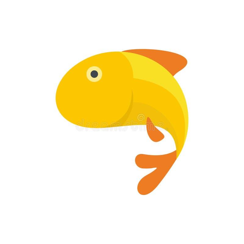 Icona del pesce dell'oro, stile piano illustrazione di stock
